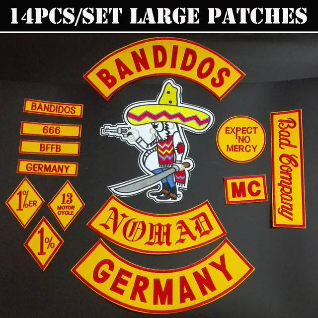 US $28 0 30% OFF|NEW ARRIVED 14PCS/SET BANDIDOS GERMANY NOMADS EMBROIDERED  ACCESSORIES FOR CLOTHING GARMENTS PATCHES GOODS SELLERS-in Patches from
