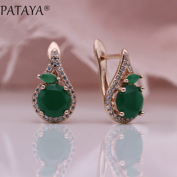 pataya new 585 rose gold extreme luxury micro wax inlay natural zircon flowers chokers necklace women wedding party fine jewelry PATAYA 618 Promotion New Green Earrings 585 Rose Gold Round Natural Zircon Women Party Dangle Earrings Horse Eye Fashion Jewelry