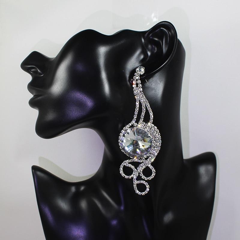 Super Big Round Crystal Drop lungă Cercei Drop Hanging Pave Cercei - Produse pentru sărbători și petreceri