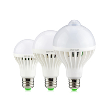 Bombilla LED inteligente de 3W, 5W, 7W, 9W, 12W, E27, 220V, Sensor de movimiento, PIR, luz LED para lámpara, luz de noche para pasillo y escalera, color blanco
