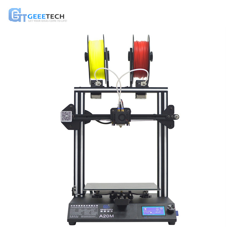 Geeetech A20M 3D Printer Mix-color FDM CE  Fast Assembly with Filament Fetector and Break-Resuming  255*255*255 Print Volume
