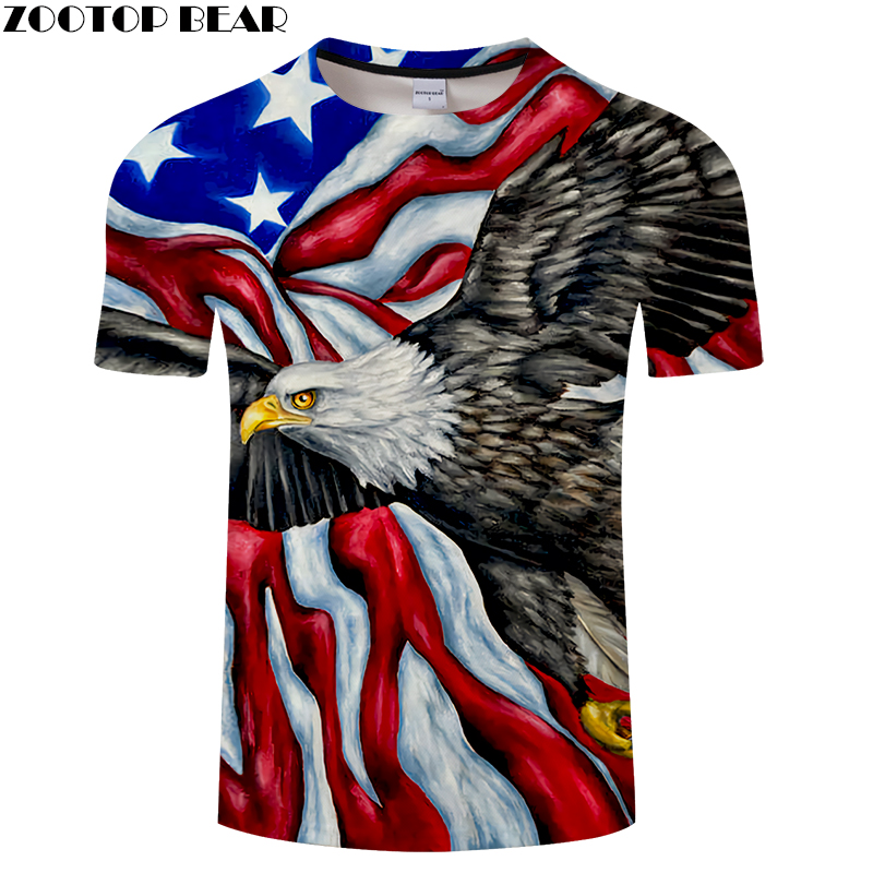 Flag and Eagle 3D Print t shirt Men Women tshirts Summer Funny Short Sleeve O-neck Tops&Tees Hot 2018 New Drop Ship ZOOTOP BEAR
