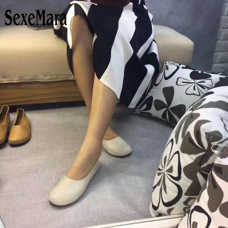 SexeMara Genuine Leather Women Flats Shoes
