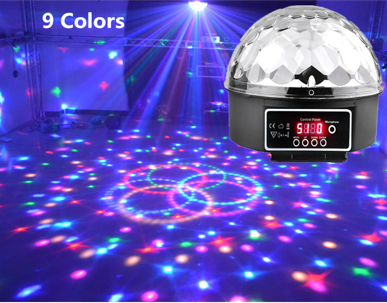 9 colors LED Magic Ball Sound Control Stage Light Magic Crystal Ball Lamp DMX Disco ball Light Laser Party effect transctego 9 colors 27w crystal magic ball led stage lamp 21 mode disco laser light party lights sound control dmx lumiere laser