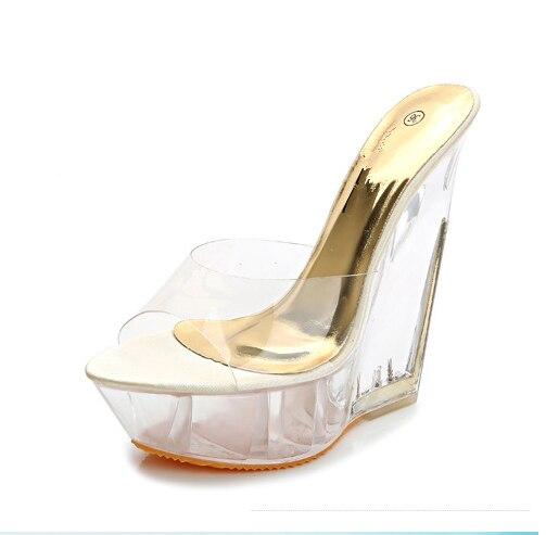 a2edb6da0d6 Moda de verano de Tacón Alto de Cuña Zapatillas Zapatos de Mujer de la  Plataforma Cuñas Cómodas Sandalias Cristalinas Transparentes Beige Rosa  Azul 2521 en ...