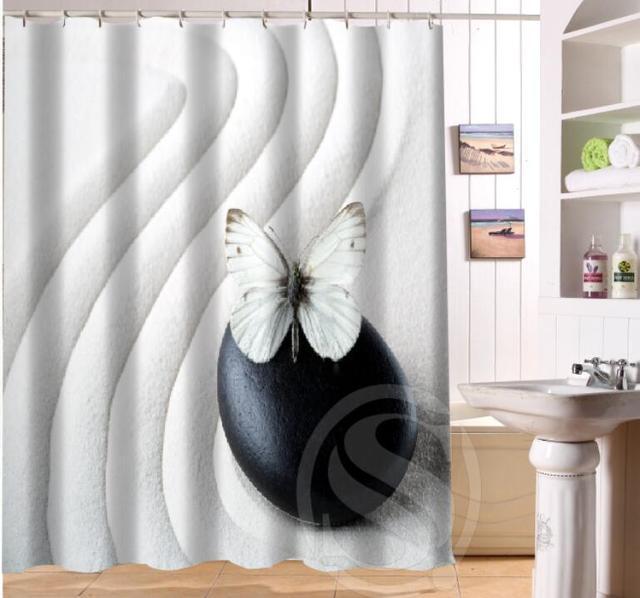 NEW HOT Custom Waterproof Bath Curtain Zen Stone Waterproof Shower