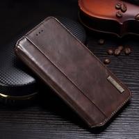 DULCII Phone Cover For IPhone 8 Plus 7 Plus Vintage Crazy Horse PU Leather Flip Case