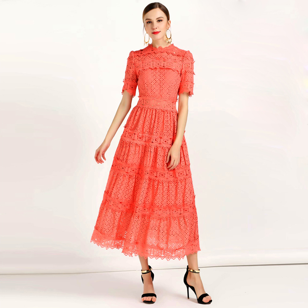 Red RoosaRosee Fashion Runway Dress Summer Women Dress Short sleeve Floral Embroidery Hollow Out Elegant Vestidos