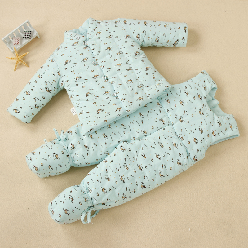 2017 style handmade cotton cotton baby suit newborn infant winter cotton padded jacket and pants bag feet baby clothes han edition printing cotton padded jacket is beautiful and comfortable small cotton padded jacket of cultivate one s morality