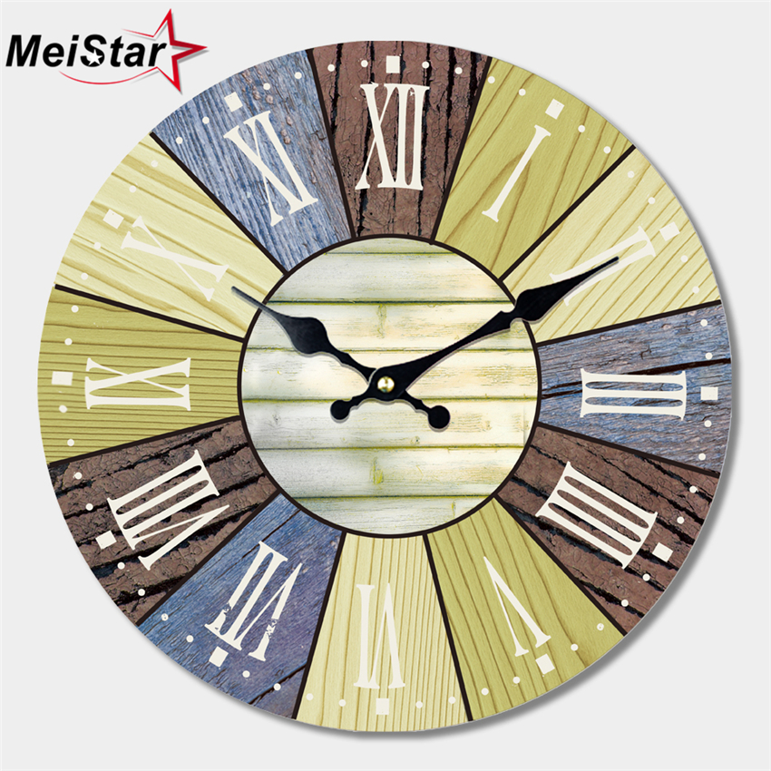 MEISTAR 2 Patterns Vintage Large Roman Number Wooden Clock Silent Cafe Kitchen Wall Clocks Watches Home Decor Retro
