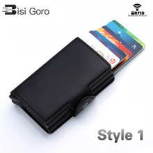 цена на BISI GORO 2020 Vintage Business 2 Aluminum Wallet for Credit Card Holder Card Wallet Case ID Metal Credit Card Holders With RFID