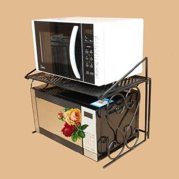 Iron microwave oven rack folding double layer microwave shelf kitchen storage rack oven rack 21035 lego