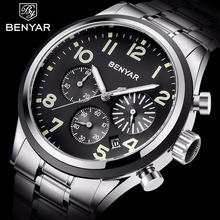 BENYAR Mens Watch Top Brand Luxury Leather Waterproof Watch Men Relojes Hombre Fashion Business Quartz Clock Sports Watch 2019