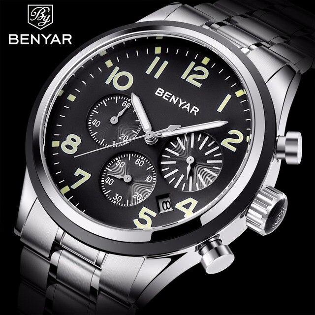 BENYAR גברים של שעון למעלה מותג יוקרה עור עמיד למים שעון גברים Relojes Hombre אופנה עסקי קוורץ שעון ספורט שעון 2019