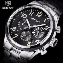 BENYAR montre pour hommes Top marque de luxe en cuir étanche montre hommes Relojes Hombre mode affaires Quartz horloge sport montre 2019