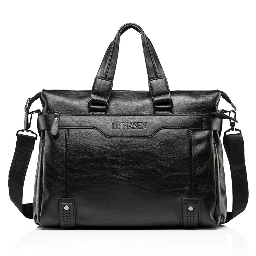 New Fashion Male Soft Leather Commercial Briefcase/Brand Design Men's Messenger Bag/casual Business Bag 14