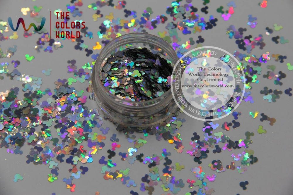 TCA100 Solvent Resistant holographic silver Colors Mickey Mouse shape Glitter 4.0MM Size Glitter for nail Art nail gel or makeup hisenlee 1728pc pack multi size ss3 ss10 blue green pink white opal nail rhinestone glitter flat back crystal gems 3d nail art