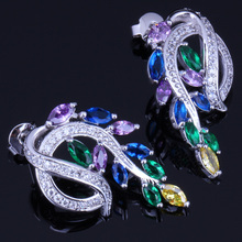 Fabulous Plant Multigem Multicolor Cubic Zirconia 925 Sterling Silver Stud Earrings For Women V0190