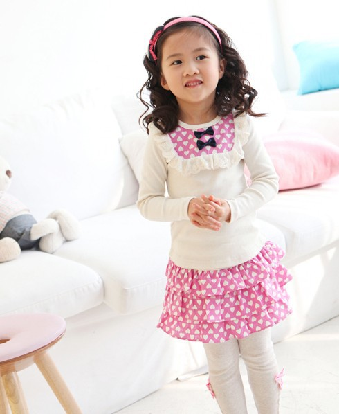 Kids Cloths 2018 new spring autumn Baby Clothes Full Sleeve Dot O-neck children Cotton Coat+ pants 2-3-4-5-6-7 Baby Girl Clothes