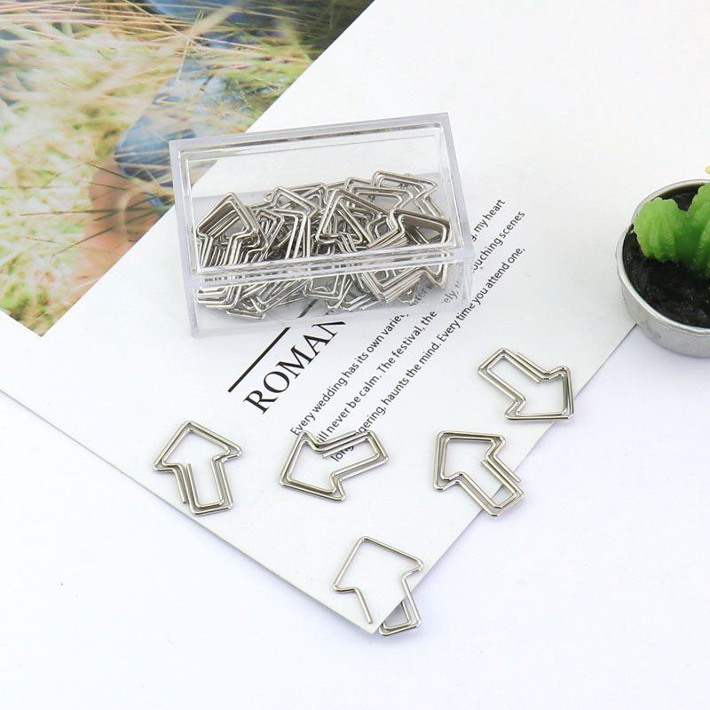 TUTU 30PCS/LOT Metal Cupid Arrows Shape Paper Clips Silver Color Funny Bookmark Office School Stationery Marking Clips H0199