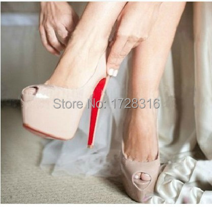 sexy nude black women's pumps 16cm ultra high heels platform genuine leather patent shiny peep toe party shoes - Super VIP shoe store
