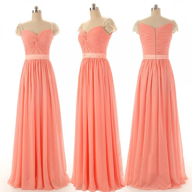 New Arrival Simple A Line Blush Color Bridesmaid Dress With Crystal And Beading Long Wedding Party Vestido De Festa In Dresses From