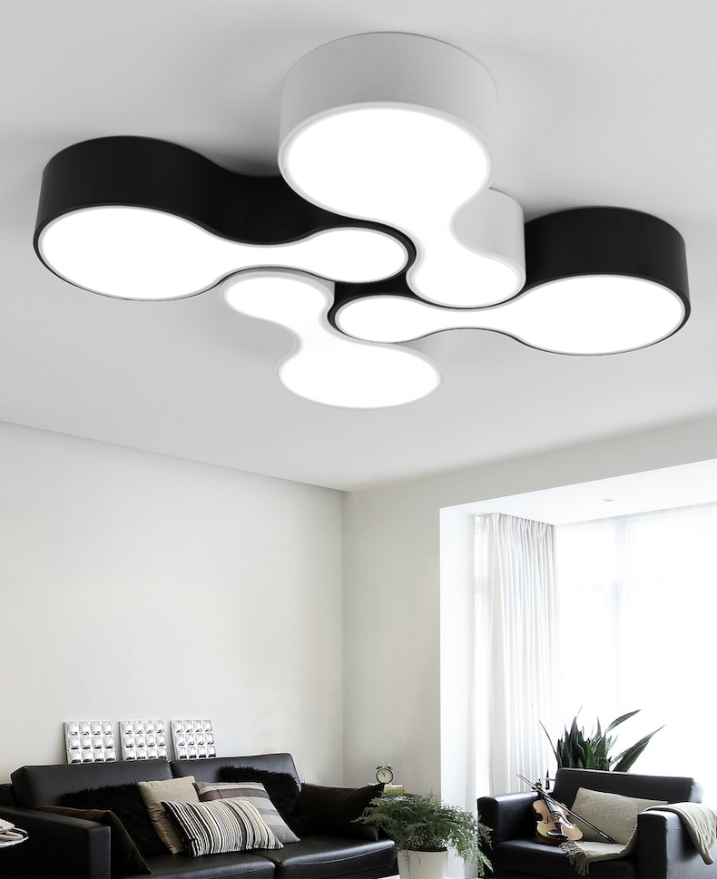 Modern Led Ceiling Lights 12w Acrylic LED ceiling Lamp dining Room bowling Bedroom light black white 2 color Lighting Fixture modern 3 6 lights crystal glass clear wineglass wine glass ceiling light lamp bedroom dining room fixture gift ems ship