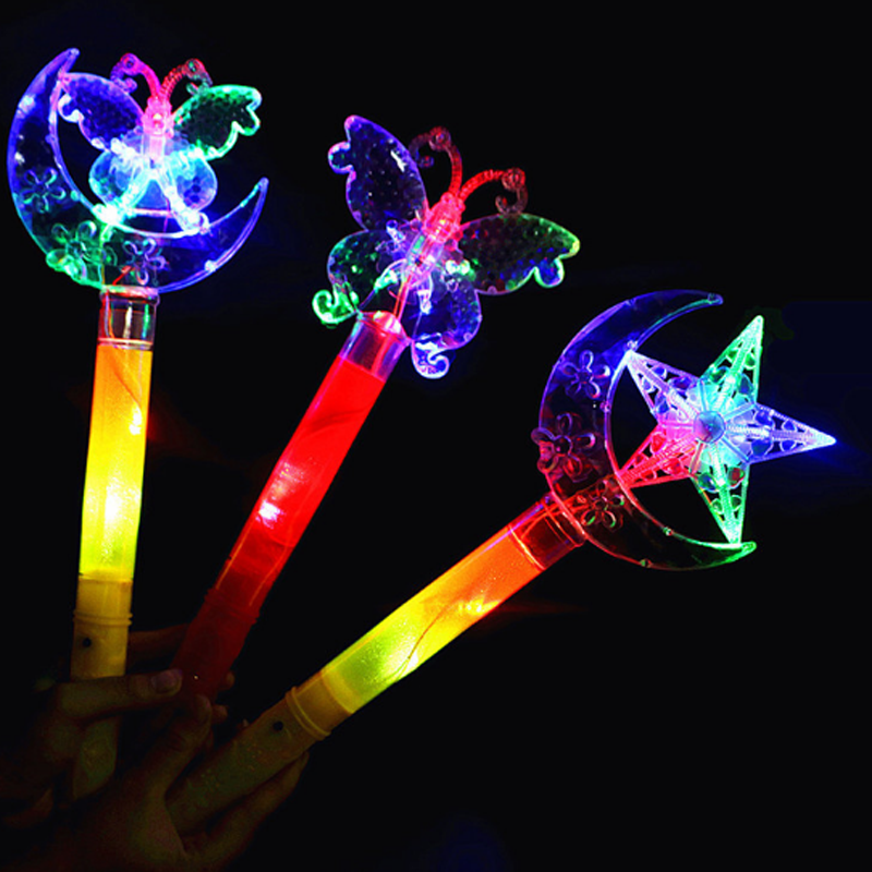 1 Pcs Lovely Glow Stick LED Light Stick Camping Decor Party Clubs Supplies Butterfly Stars Moon Crown Colorful Fluorescent