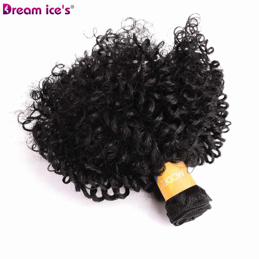 Dream Ice's hinchable rizado tejido sintético 6 unids/lote Natural pelo corto mechones cabello tejido negro 6 pulgadas