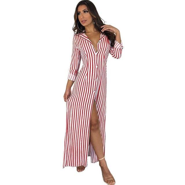 641514cb7fd Long Sleeve Striped Maxi Shirt Dress Women Turn Down Collar Button Down  Oversize Long Shirt Dress Side Split Casual Maxi Dresses
