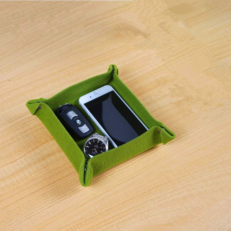 Simple Fashion Tabletop Box Desk Storage Bins for Remote Control Mobile Phone Keys Felt Button Pouch Folding Organizer
