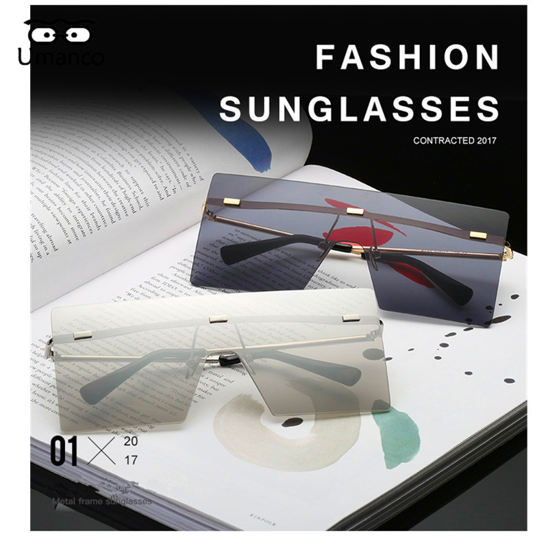 5b9647f02b Umanco Big Square Rimless Sunglasses Women Men Vintage Fashion Metal ...