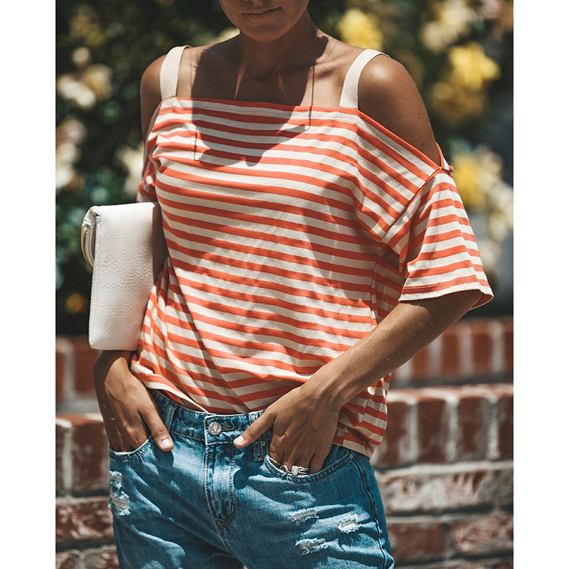 Casual Summer Stripe T Shirt Off Shouler Strap Tops Short Sleeves Loose Tee Shirt Streetwear WS8717T