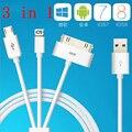 2 P 20 cm Cabo do Carregador Universal 3 EM 1 USB Cabo de Carregamento Para iPhone 7 4S 5S 6 s plus para samsung note 7 borda s7 android ios