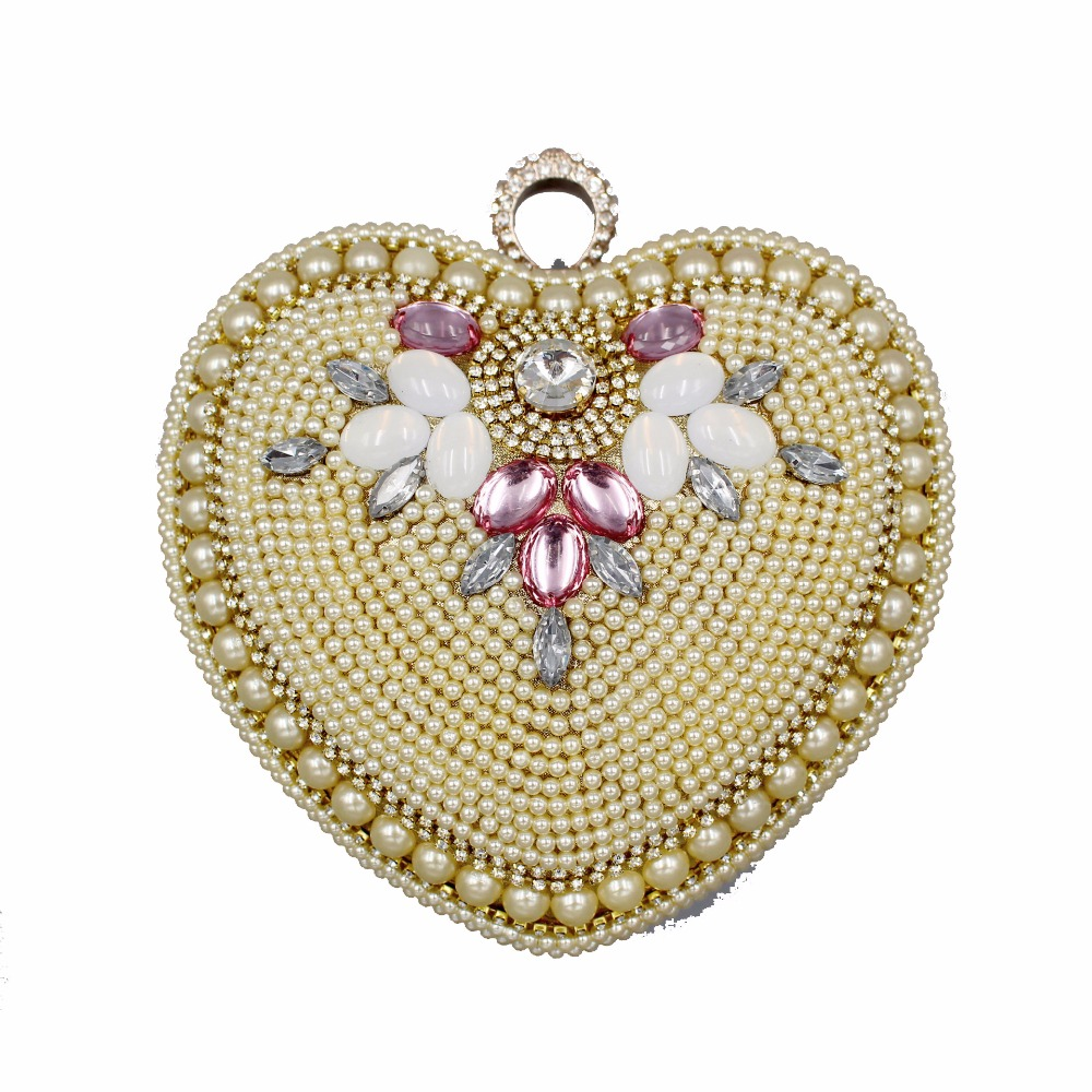 Фото HOT Beaded Heart design diamonds Day Clutches women evening bags handle rhinestones purse evening bag for wedding bridal tote