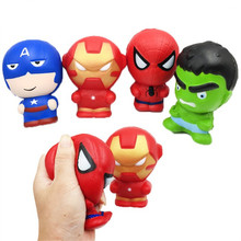 Squishy Slow Rising The Avengers Spiderman Hulk Iron Man Captain America Squeeze Squishi Anti-stress Stress Relief Toys For Kids a rising man