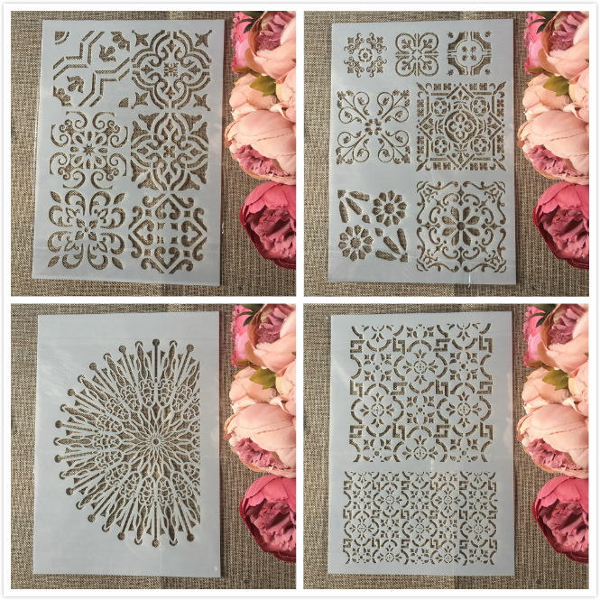 4Pcs/Set A4 Frame Half Circle DIY Layering Stencils Painting Scrapbook Coloring Embossing Album Decorative Template