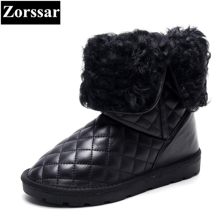 {Zorssar} 2017 NEW winter warm plush Womens Boots cow suede flat heel ankle snow Boots Thick wool inside flats women shoes кукла bjd fl fairyland feeple moe60 celine bjd sd doll soom luts