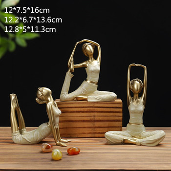 Home Decoration Yoga Figurine Girl's Dream Art Sculpture Dolls Resin Beauty Modern Yoga Woman Wedding Crafts Gift 3Pcs/set R79