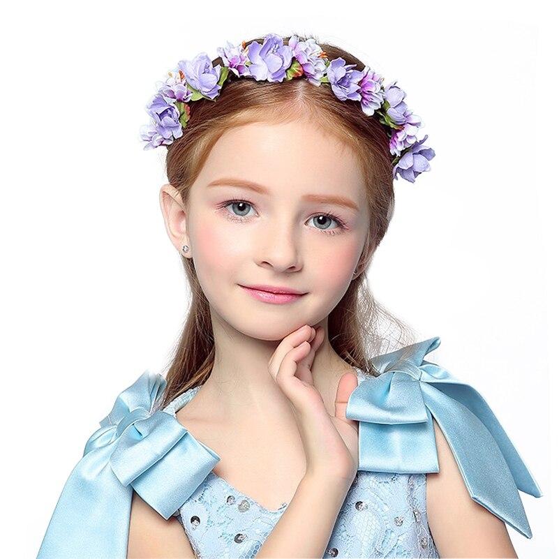 High Quality violet Children purple floral flower crown Grils headband party hairgarland wedding hair accessories baby Hairbands flower violet w edp