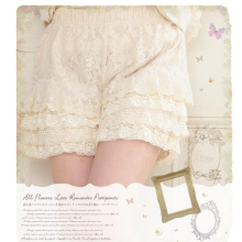 Mori Girls Creamy White Multi Layered Lace Sweet Lolita Safety Shorts
