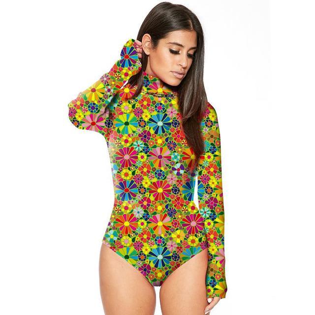 025529158 18 Colors Long Sleeve Bodysuit High Neck Floral Print Women s Sexy ...