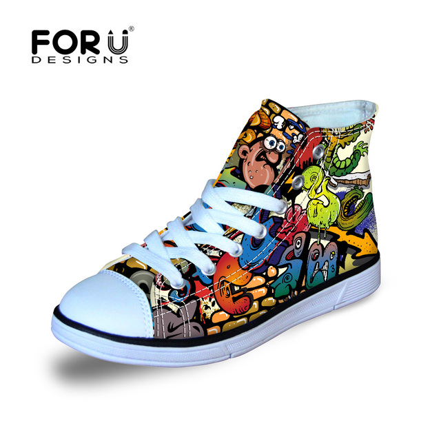 Fresh Graffiti Shoe Designs for Boys and Girls Letter Canvas Shoes Breathable Students Board Sneakers Children School Shoes