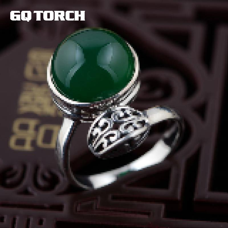 GQTORCH Thai Silver Natural Green Agate Rings Adjustable 925 Silver Vitnage Style Female Hollow Flower Engraved Exquisite DesignGQTORCH Thai Silver Natural Green Agate Rings Adjustable 925 Silver Vitnage Style Female Hollow Flower Engraved Exquisite Design