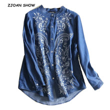 2019 Spring New Casual White Flower Embroidery Denim Shirt Blue Ethnic Women Loose Single-Breasted Long sleeve Denim Blouse Tops