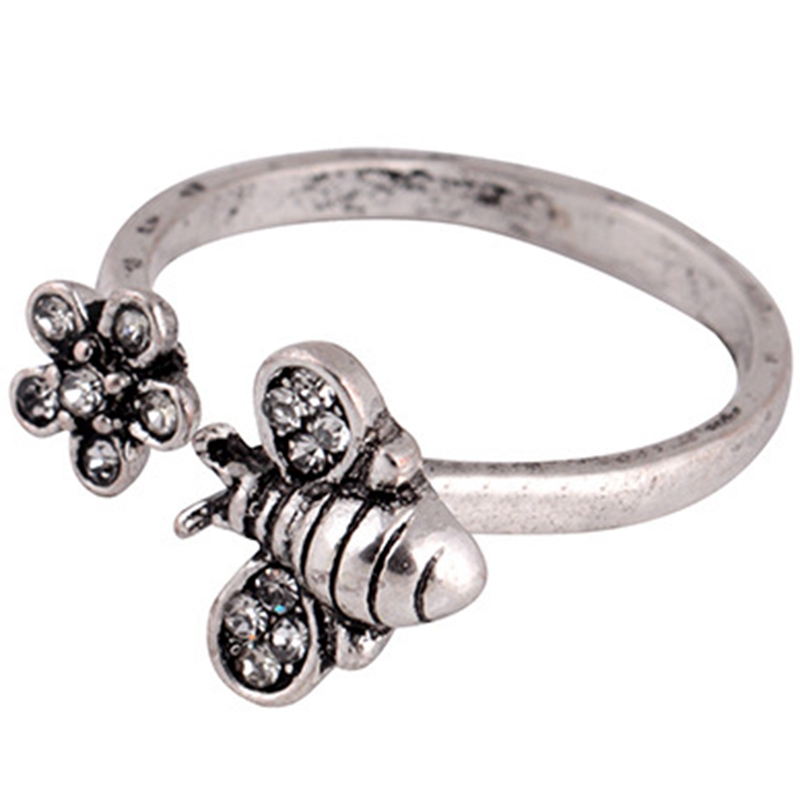 Adjustable Open Ring Womens Cute Honey Bee And Flower Finger Ring Cool Elegant Jewelry For Women