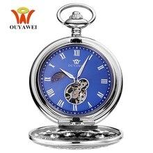 El sarma mekanik Steampunk erkek cep saati mavi İskelet arama kolye kolye moda zincir Fob saatler düğün hediyeleri