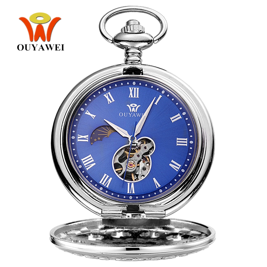 Hand Winding Mechanical Steampunk Men Pocket Watch Blue Skeleton Dial Necklace Pendant Fashion Chain Fob Watches Weeding Gifts