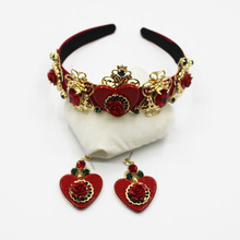 New Fashion Red Flower Heart Crown Baroque Prom Show Hair Band Metal Hair Jewelry Wedding Tiara Accessories Gift For Women Party