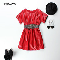 2018 Genuine Leather Dress for Women High Waisted Winter Spring Red Dresses with Sleeves Casual Plus Size Prom Black Dresses